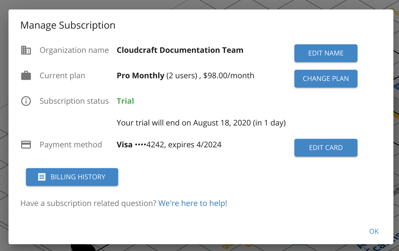 Manage your Cloudcraft subscription