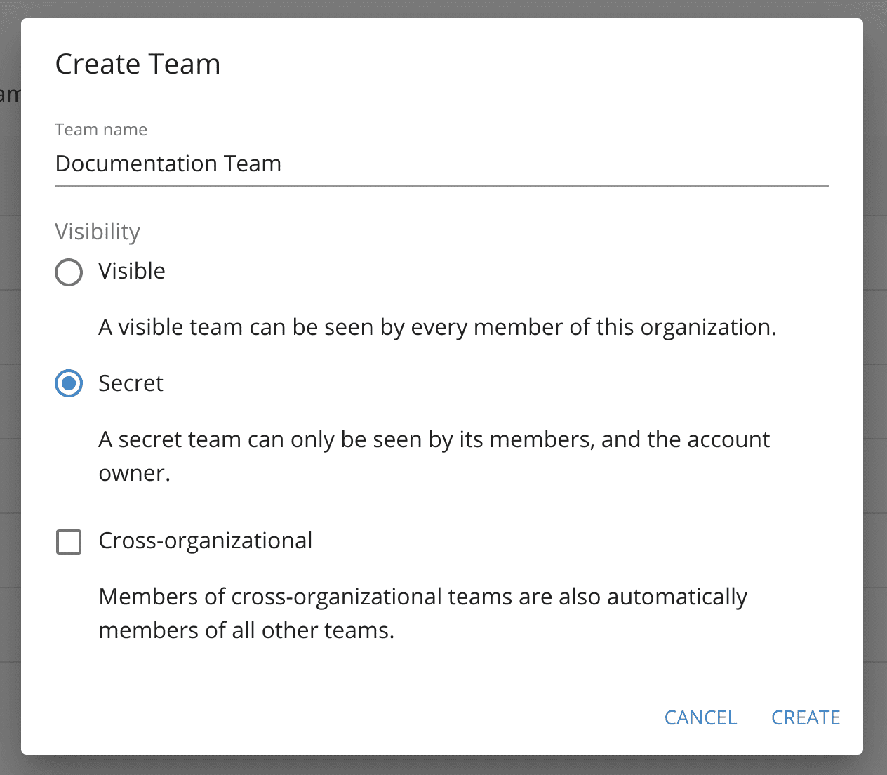 Select the settings for the new team