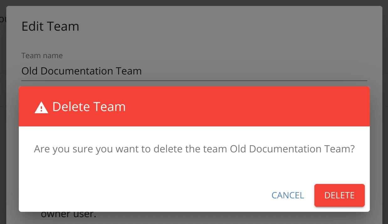 Delete a team