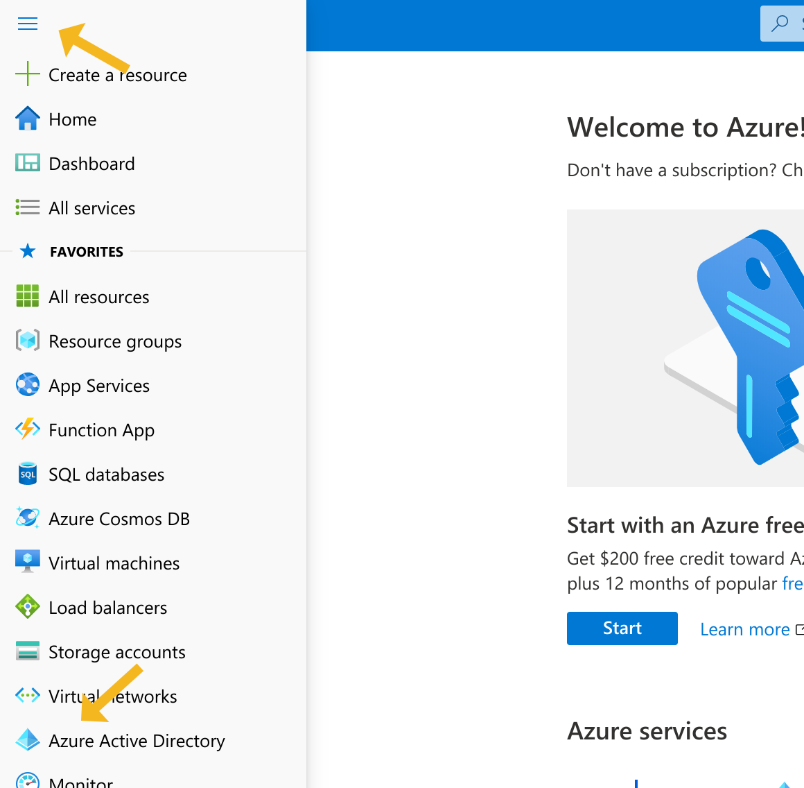 Azure portal menu and active directory