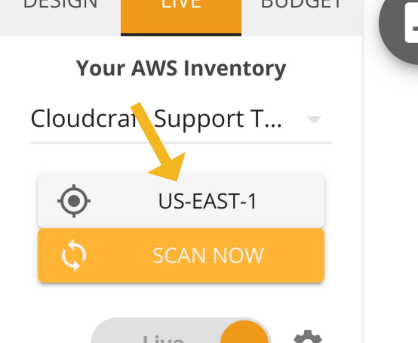 Select an AWS region